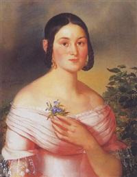 fiatal hölgy portréja virágcsokorral by franz dobiaschofsky