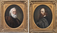 portrait of longfellow (+ portrait of tennyson; pair) by g. stefenson