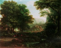 lanscape with figures on a path by agostino aglio