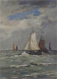 boats sailing on the sea by gerard van der laan