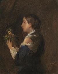ritratto di fanciulla con fiori by cesare pezzi