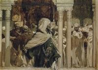 moro noble en patio de columnas by josé marie de la bastida y fernandez