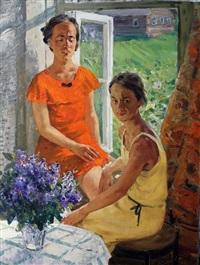 deux jeunes femmes à la fenêtre by anatole ivanovitch smirnov