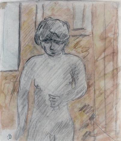 étude de femme nue à mi corps study by pierre bonnard