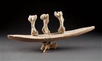 kayak with winged spirit figures by manasie akpaliapik