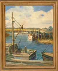 boats at pier by wendell rogers