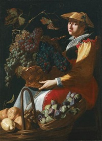 a lady selling fruit, including figs, lemons and grapes by giacomo legi