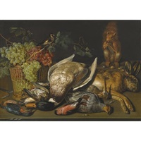 still life of a game and a basket of grapes with a squirrel and goldfinch by clara peeters