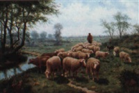 landscape with sheep by h. rohde