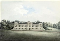 view of woburn abbey, bedfordshire (+ 3 others; 4 works) by hubert cornish