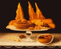 still life with portuguese pastries by stuart morle
