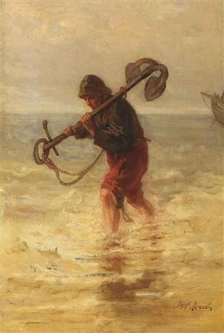 a fisherman with an anchor by jozef israëls