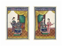 twelve portraits of members of the imperial court (12 works); two albums (14 works) by chinese school-canton (19)