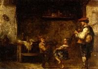cavalier et enfants sur un balcon (+ musicien et enfants dans un intérieur; pair, 1 sgnd) by martin domicent