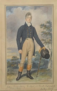 john beaufort, wearing double-breasted blue coat with brass buttons, tied white stock, buff trousers with buttons below the knee and two seals at the waist by samuel de wilde