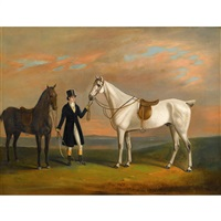 lord with dark bay and grey; and a companion (pair) by british school (19)