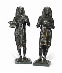 figures of an egyptian high priest and scribe (pair) by emile louis picault