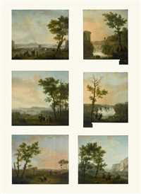 a set of seven decorative wall panels: landscape with a waterfall and a bridge; the waterfalls of tivoli; schaffhausen, view of the waterfalls; the bay of naples with a view of mount vesuvius; rome, view of the colosseum; landscape with a garrison encamped by flemish school (18)