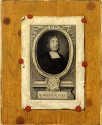 an engraved portrait of samuel slater attached to a panelled wall with red laquer by edwaert colyer