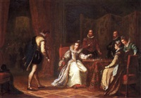 mary queen of scots interrupted from a game of chess by one of her courtiers by john cawse