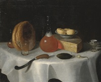 a loaf of bread, a flask of ale, a wedge of cheese, a knife and a pickle on a table by george smith of chichester