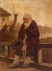 um almosen bittender mann auf der brücke by josef huttary