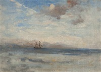 seascape with distant brig by nathaniel hone the younger