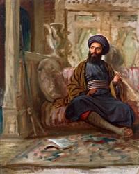 orientalisches interieur mit rauchendem, sowie studienkopf by adolf henning