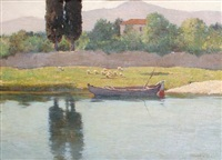 a boat moored by a river by alberto cecconi