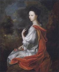 bildnis einer dame in weißem kleid und rotem mantel in einer landschaft by hendrik van limborch