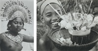 smiling boy with offering (+ balinese girl, smllr; 2 works) by arthur john fleischmann