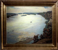 landscape river view from alton bluffs by henry salem hubbell