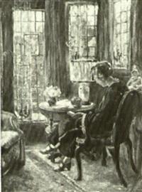 woman reading in an interior by cornelius christiaan zwaan