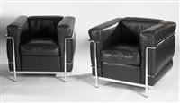 paire de fauteuils lc2 (set of 2) by le corbusier, charlotte perriand and pierre jeanneret