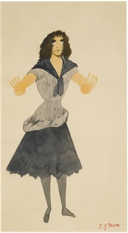 costume design for a peasant woman, don quixote by edward burra