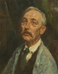 self portrait in smock and green tie by julius paulsen
