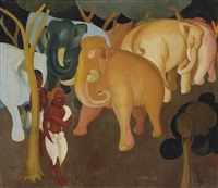 elephants in a forest by g. m. solegaonkar