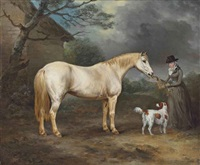 mrs. thomas hawkins of trewithen, cornwall with her connemara pony and a spaniel by philipp reinagle