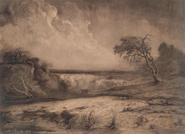 landschaft an einem wasserfall by jules charles aviat