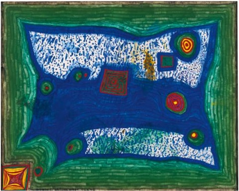 rain in the meadow by friedensreich hundertwasser