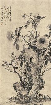 牡丹 立轴 水墨纸本 by luo qing