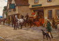 the stagecoach leaving the george by cecil charles windsor aldin
