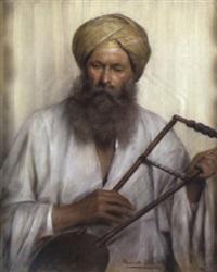 ein orientale in weißem kaftan und gelben turban by marie müller