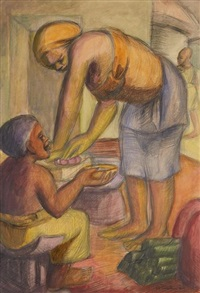 an akan woman grinds tomatoes by kofi antubam