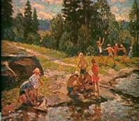 pres de la riviere by galina rumyantseva