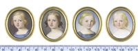 portrait miniatures of children: the boys, wearing blue square-necked dresses...; the girls, wearing plain white dresses (4 works) by john haslem