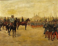 reviewing the 28th infantry regiment with a north african town in the distance by pierre petit-gérard