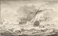 merchant ships and smaller sailing boats in a strong breeze, dolphins in the waves by hendrik rietschoof