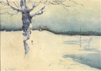 winter landscape by leon bakst