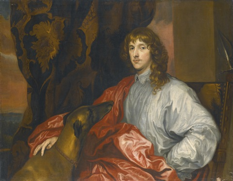 portrait of james stuart 4th duke of lennox and 1st duke of richmond with a greyhound by sir anthony van dyck